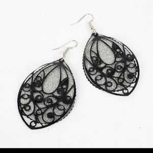 Scrollwork oval double layer frosted earrings